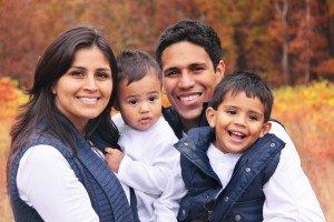 Happy family smiling autumn portrait