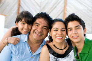 cheerful hispanic family